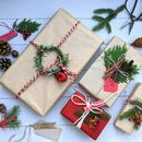 100% Recyclable Red And Kraft Paper Gift Wrap Set