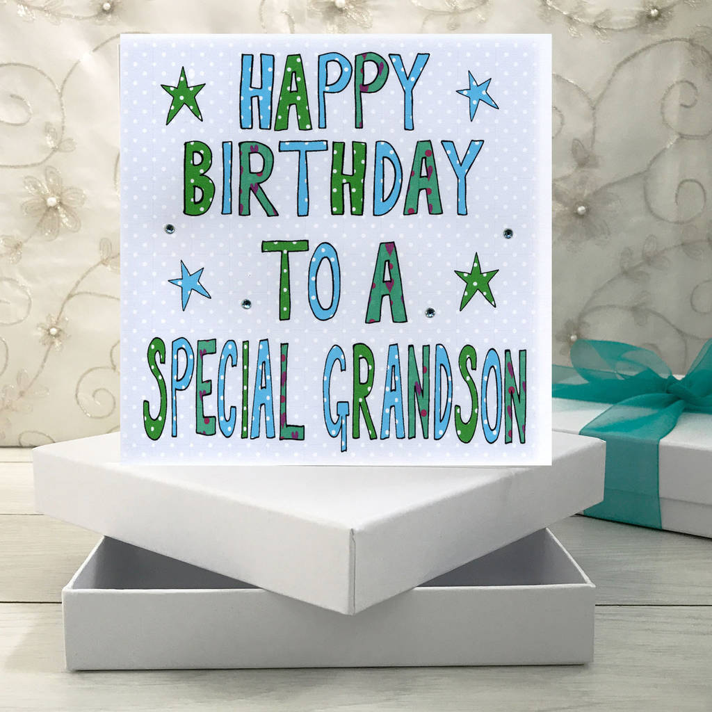 Personalised Grandson Birthday Book Card