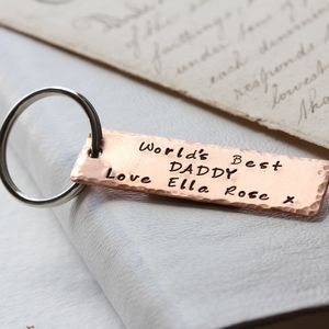 Copper Personalised Keyring - gifts for him sale