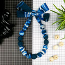 Chunky, Fabric Covered, Bead Necklace 'Blue Lines'