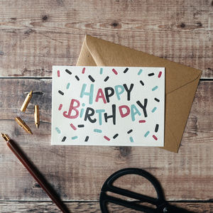 'Happy Birthday Confetti' Letterpress Card