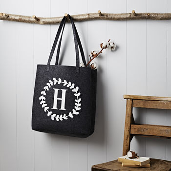 Personalised Wreath Letter Grey Felt Bag