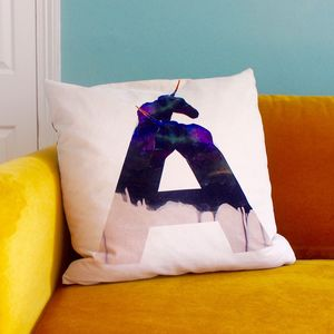 Inital Ombré Unicorn Cushion Cover - living room