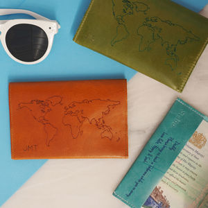 Leather Passport Cover With World Map Personalised - bags & purses