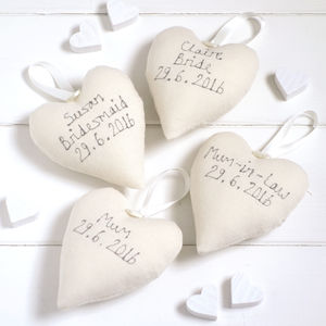 Personalised Bridesmaid Hanging Heart - lavender bags