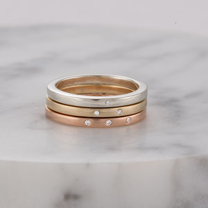 Personalised 9ct Gold And Diamond Stacker Ring