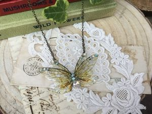 Natural Faerie Wing Small Necklace