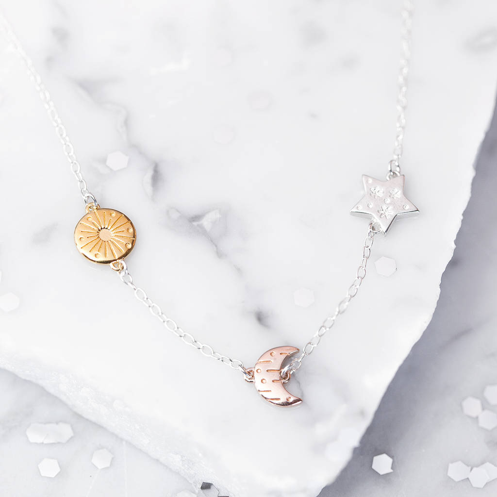 sun moon stars rose gold necklace by under the rose
