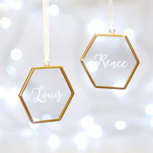 Set Of Two Personalised Glass Hexagon Decorations