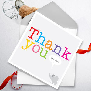 Thank You Very Much Pack Of Six - thank you cards