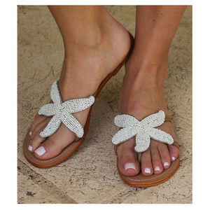 Starfish White Beaded Flat Leather Sandals - women's fashion