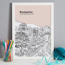 Winchester print in colour 2-blush, font style 1, A3 size framed