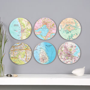 Six Personalised Map Wall Art Circles
