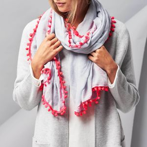 Personalised Pom Pom Scarf - for the style-savvy