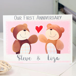 Personalised Bear First Anniversary Card