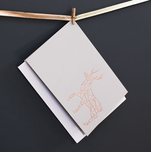Luxury Hand Pressed Copper Geometric Reindeer Card - cards