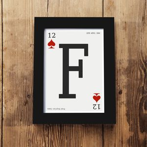 Personalised Playing Card Framed A5 Print - children's pictures & paintings