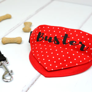 Personalised Dog Bandana Red Polka Dots - dogs