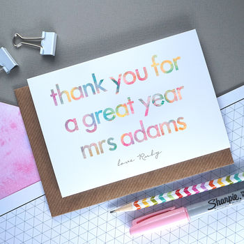Thank You For A Great Year | Personalised Teacher Card