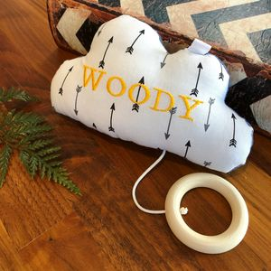 Personalised baby gifts gifts for new babies personalised arrow pattern musical cloud negle Image collections