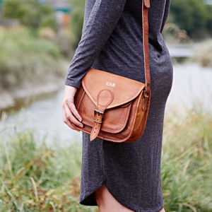 Personalised Curved Brown Leather Saddle Bag - cross body bags