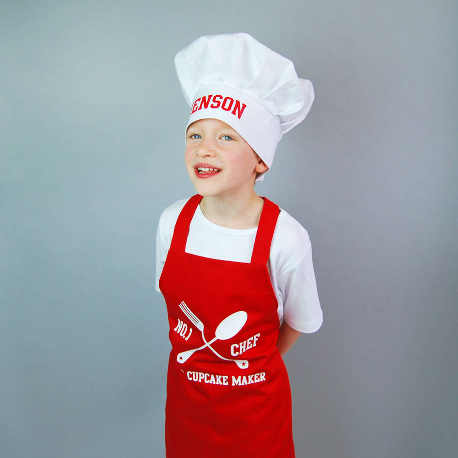 personalised children 39 s apron and chef hat set by simply colors. Black Bedroom Furniture Sets. Home Design Ideas