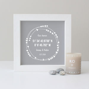 Personalised Coordinates New Home Gift