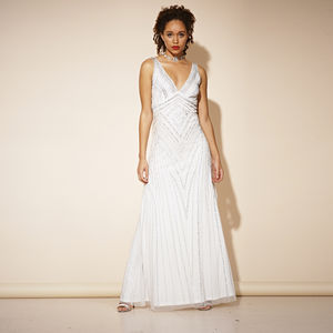 Teona Sequin White Maxi Dress - wedding dresses