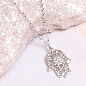 Personalised Sterling Silver Hamsa Pendant Necklace - lucky charm jewellery