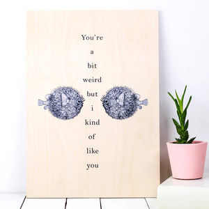 Anniversary Gift 'You're A Bit Weird…' Wooden Print - mixed media & collage