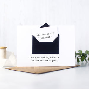 Secret Message 'Will You Be My Best Man?' Card - christening invitations
