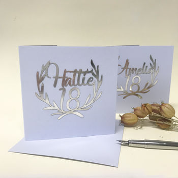 Personalised Papercut 18th Birthday Card