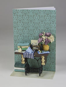 Personalised Miniature Sewing Scene Greetings Card