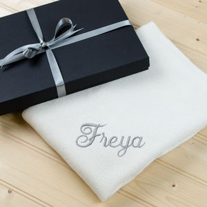 Personalised Knitted Cream Cashmere Baby Blanket - gifts for babies