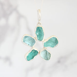 Aquamarine And Apatite Gemstone Flower Ladies Pendant - necklaces & pendants