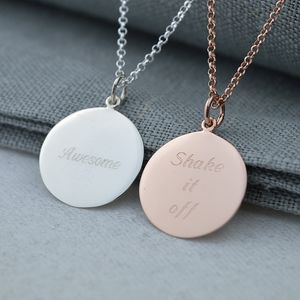 Personalised Rose Gold Or Silver Disc Necklace - necklaces & pendants