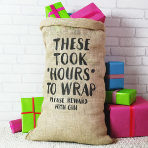 Christmas Sack For Adults Please Reward With Gin