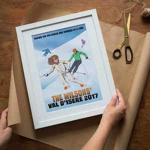 Personalised Family Skiing Comic Book Style Print - gifts for him sale