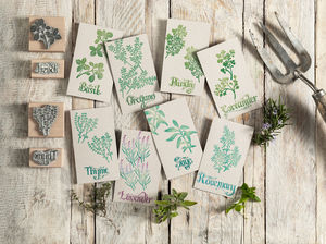 Garden Herbs Rubber Stamps, Botanical Herb Stamps