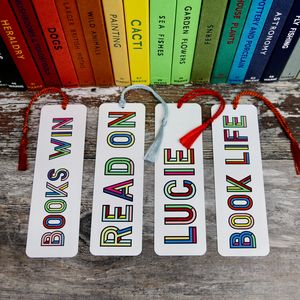 Personalised Colourful Typographic Bookmark