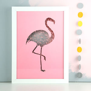 Pink Geometric Flamingo Papercut - mixed media & collage