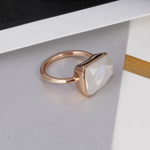 Moonstone And Rose Gold Rectangular Ring - view all new
