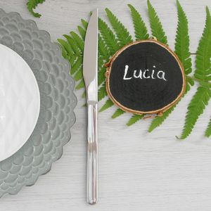 Six Chalkboard Log Slice Place Cards - placename holders