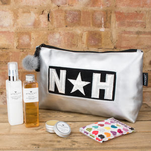 Personalised Silver Wash Bag - bathroom