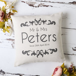 'Mr And Mrs' Vintage Cushion Cover - for the couple