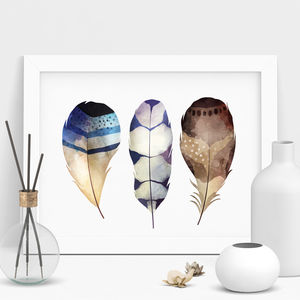 Decorative Feather Illustration Watercolour Print - still life