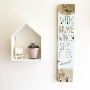 'With Brave Wings She Flies' Reclaimed Wood Sign