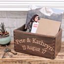 Carved Beech Wood Box Crate Personalised for Married Couple