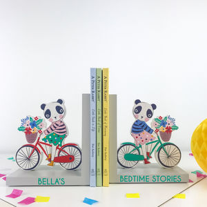 Personalised Panda Wooden Bookends