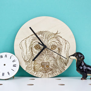 Wire Haired Dachshund Portrait Wall Clock
